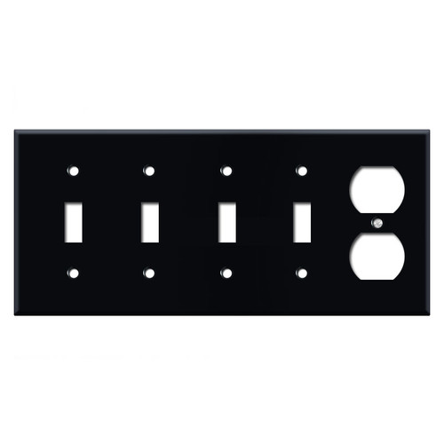 Quad Toggle and Duplex Outlet Switch Plate Covers - Black