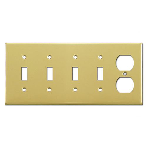 Four Toggle and Outlet Plug Light Switch Plate - Polished Brass