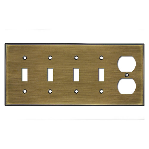 Four Toggle and Outlet Plug Light Switch Plate - Antique Brass
