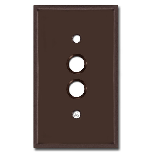 Single Gang Push Button Switch Plate - Brown
