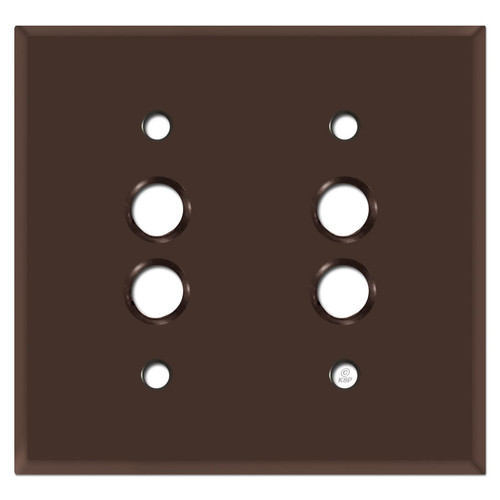 2 Pushbutton Wall Cover Plates - Brown