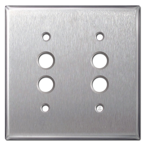 Two Pushbutton Light Switch Covers - Satin Stainless Steel
