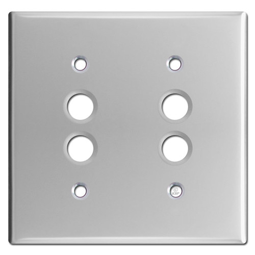 Two Push Button Wall Plate Covers - Polished Chrome