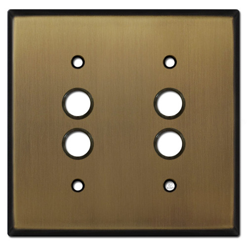 2 Push Button Wall Plate Covers - Antique Brass