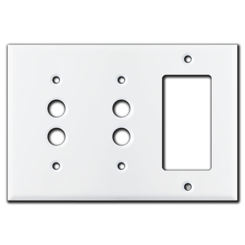 2 Push Button 1 Rocker Wall Plate Covers - White