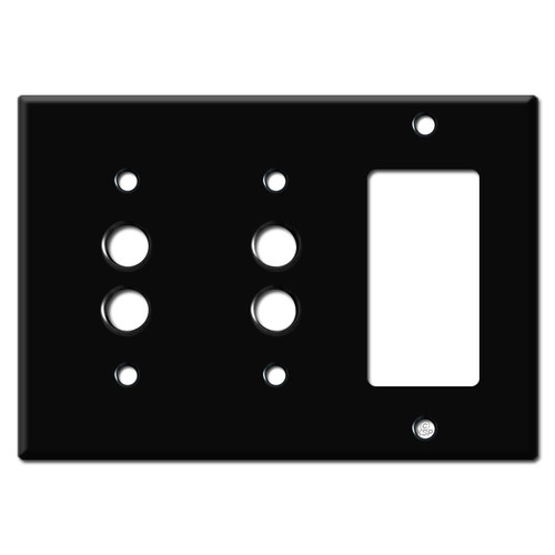 Double Push Button Single Decora Switch Plates - Black