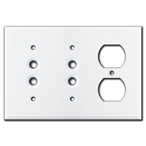 2 Push Button 1 Duplex Receptacle Wall Plate Covers - White