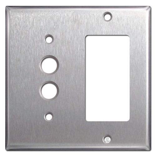 1 Push Button 1 GFCI Plate Covers - Satin Stainless Steel