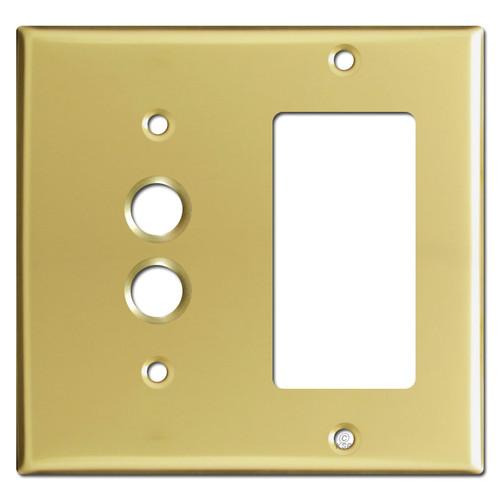 Combination 1 Pushbutton 1 GFI Wall Plates - Polished Brass