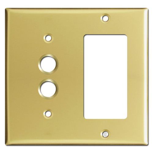 Combination 1 Pushbutton 1 GFI Wall Plates - Polished Brass