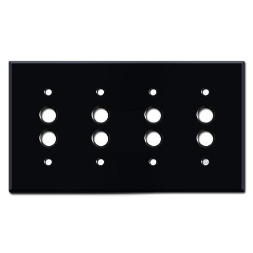Quadruple Push Button Cover Plates - Black