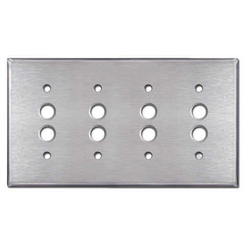4 Push Button Switch Plate Covers - Satin Stainless Steel