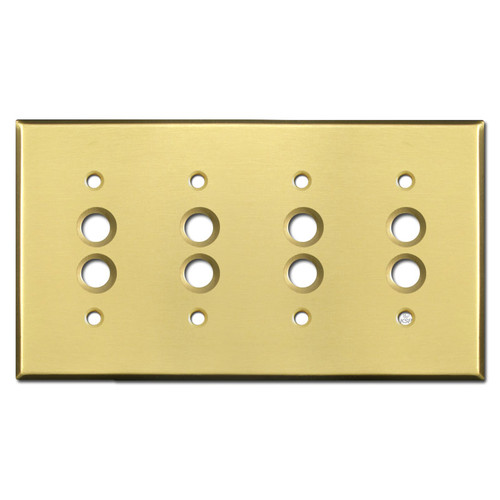Quadruple Pushbutton Wall Cover Plates - Satin Brass