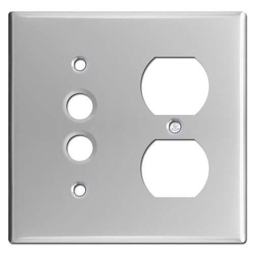 One Push Button One Duplex Switch Plates- Satin Stainless Steel