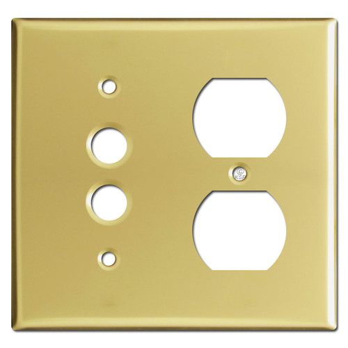 1 Outlet 1 Pushbutton Combo Wall Cover Plates - Polished Brass