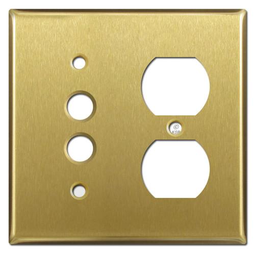 Single Duplex Receptacle Single Pushbutton Cover Plates - Satin Brass