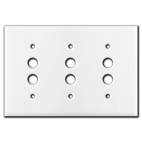 Triple Gang Pushbutton Switch Plate Covers - White