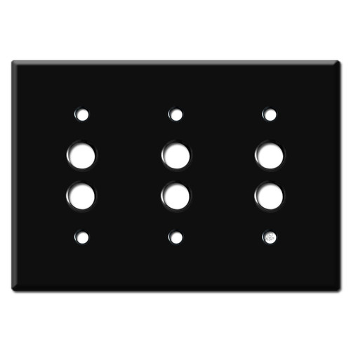 3 Gang Pushbutton Switch Wall Covers - Black