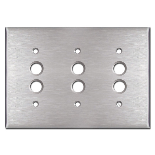Triple Push Button Switch Plates - Satin Stainless Steel