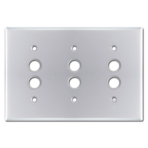 Three Gang Pushbutton Switch Covers - Polished Chrome