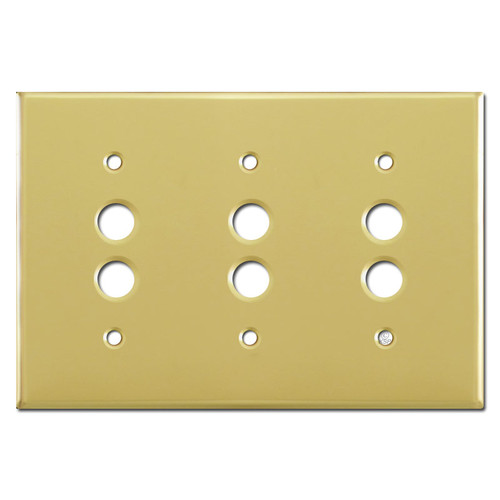 Triple Push Button Light Switchplates - Polished Brass