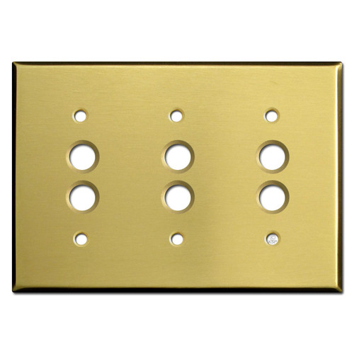 Three Gang Pushbutton Wall Cover Plates - Satin Brass