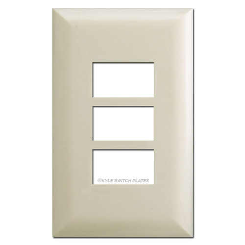 Touchplate 5000 Series Triple Button Low Voltage Switchplates - Almond