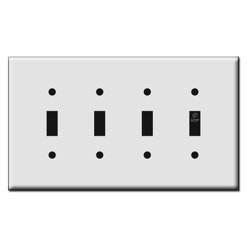 Quality Four Toggle Plastic Mid Size Wall Switch Plates