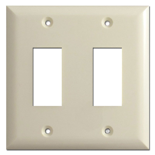 TouchPlate Genesis Low Voltage Double Switch Plates - Almond