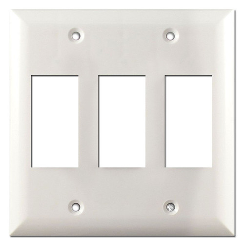 Touch Plate Low Voltage Three Genesis Switch Plate Covers  - White