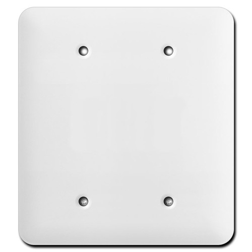 Long Double Gang Blank Cover Plates - White