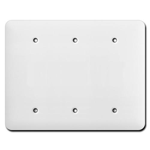 Long Triple Gang Blank Wall Cover Plates - White