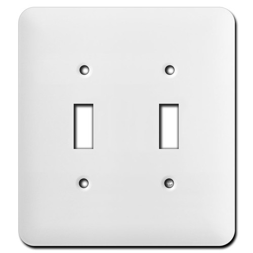 Taller Double Toggle Light Switch Plates - White