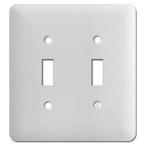 Long Two Toggle Switchplates - Textured White