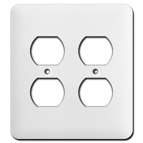 Long Double Duplex Receptacle Cover Plates - White