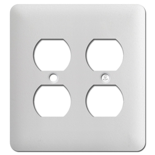 Taller Two Receptacle Wall Plates - Textured White