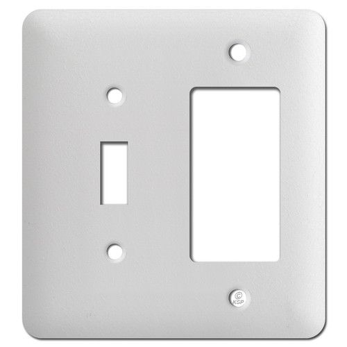 Taller One Rocker One Toggle Light Switch Plates - Textured White