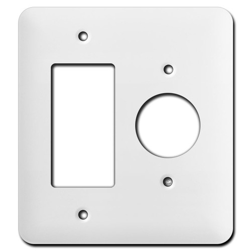 Long 1 GFCI and 1 Round Outlet Wall Plates - White