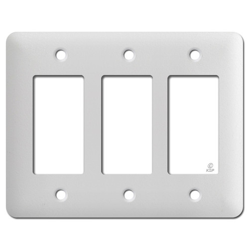 Long Three GFI Wall Cover Plates - Textured White