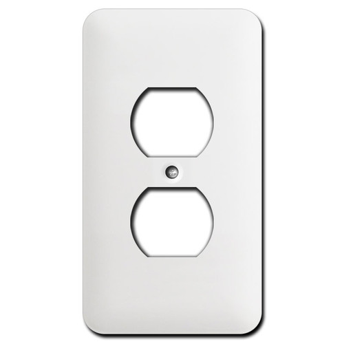 Long Single Receptacle Switch Cover Plates - White