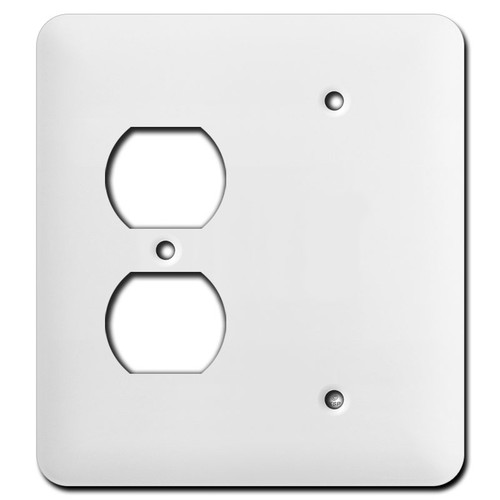 Long Single Blank Single Outlet Wall Cover Plates - White