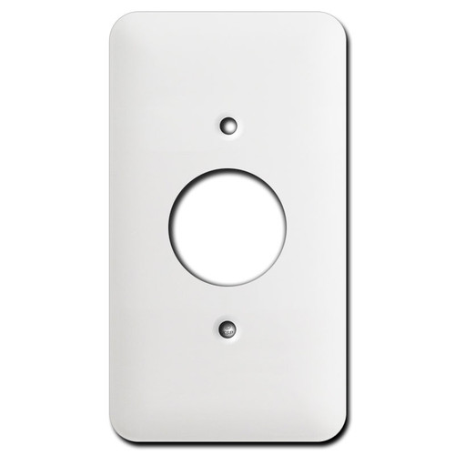 Long 1 Round Outlet Cover Plates - White