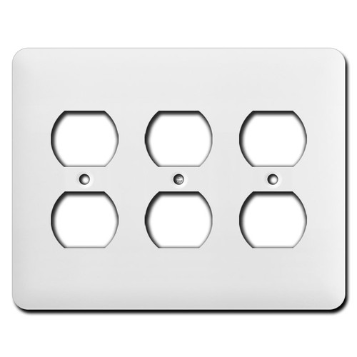 Long Triple Gang Receptacle Wall Plate Covers - White