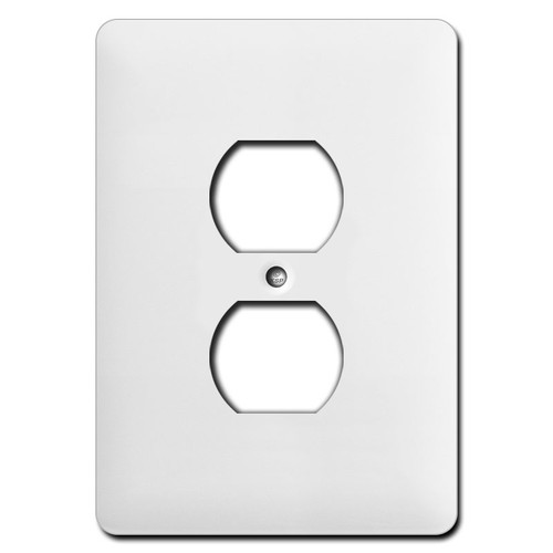 Long Wider Single Duplex Receptacle Cover Plates - White