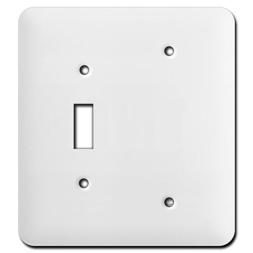 Long Single Blank Single Toggle Wall Cover Plates - White