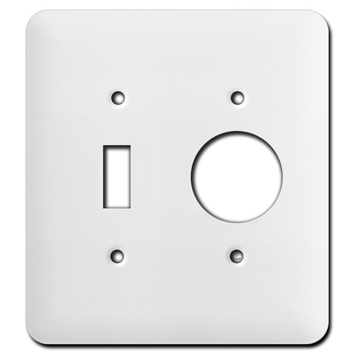 Long Single Round Receptacle Single Toggle Wall Plates - White