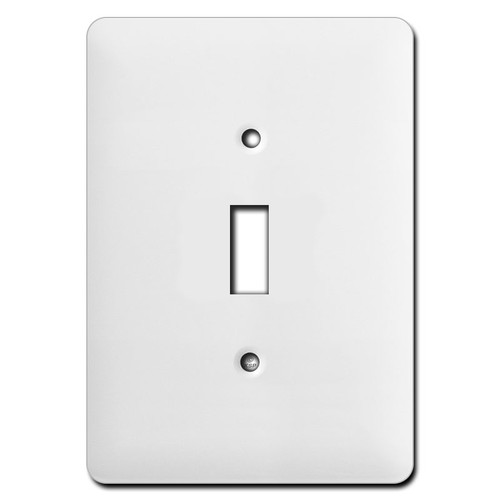 Long Wider Single Toggle Light Switch Plates - White