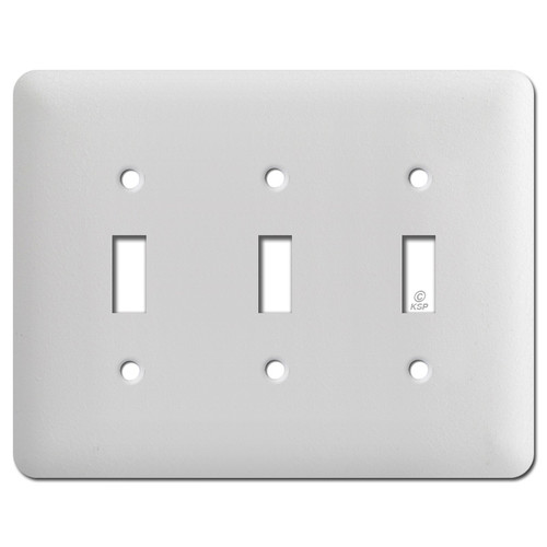 Long Triple Toggle Wall Plate Covers - White Wrinkle