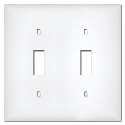 White Plastic 2 Toggle Switch Plate Covers