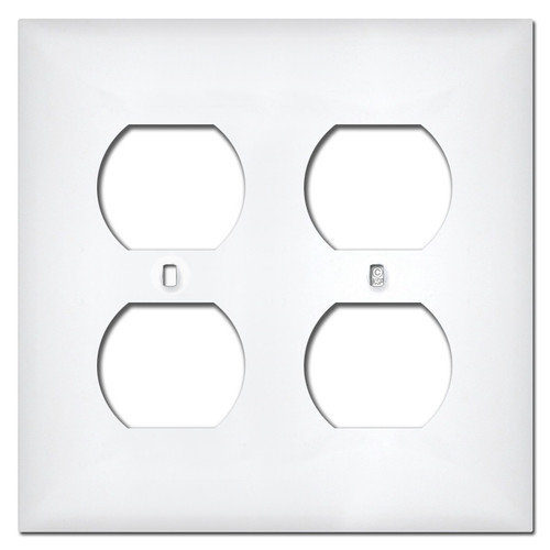 White Plastic 2 Duplex Outlet Covers